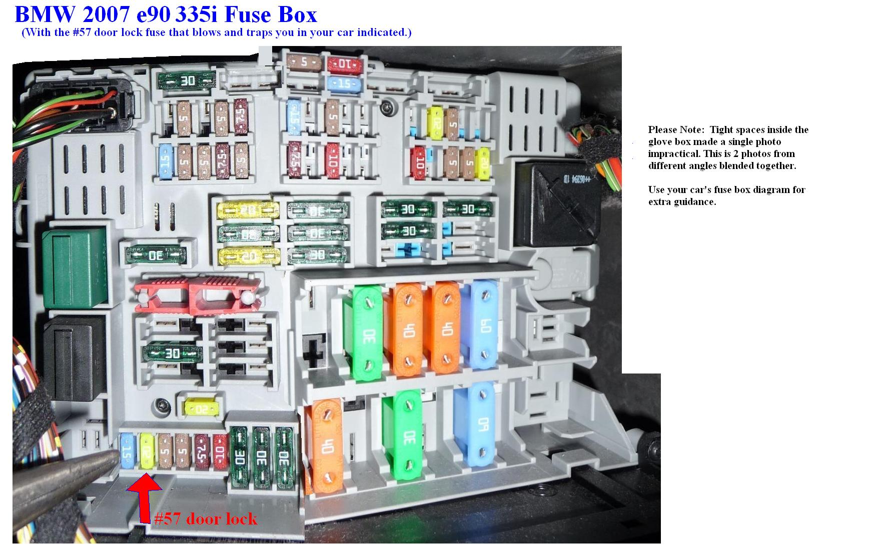 E90fuses_57 door locks not working fuses bimmerfest bmw forums 2006 bmw 330i fuse box diagram at bayanpartner.co